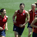 United States' Abby Wambach, center left, runs with teammates during a soccer workout at Red Bull Arena, Wednesday, June 19, 2013, in Harrison, N.J. Wambach is three goals from becoming the team's all time scoring leader. The U.S. will play against South Korea in an international soccer friendly on Thursday. (AP Photo/Julio Cortez)