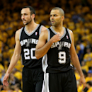 OAKLAND, CA - MAY 16:  Tony Parker #9 and Manu Ginobli #20 of the San Antonio Spurs on the floor against the Golden State Warriors in Game Six of the Western Conference Semifinals during the 2013 NBA Playoffs on May 16, 2013 at the Oracle Arena in Oakland, California. The Spurs won 94-82 to take the series 4-2. . (Photo by StephenDunn/Getty Images)