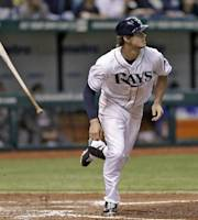 Tampa Bay Rays' Wil Myers flips his bat as he watches his fifth-inning two run double off Texas Rangers relief pitcher Jason Frasor during a baseball game Monday, Sept. 16, 2013, in St. Petersburg, Fla. Rays' James Loney and Evan Longoria scored on the hit. (AP Photo/Chris O'Meara)