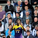 Swansea City's Wilfried Bony celebrates his goal during their English Premier League soccer match against Newcastle United at St James' Park, Newcastle, England, Saturday, April 19, 2014