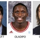 These 2012 photos provided by their respective schools show the 2012-13 AP All-America men's college basketball team. From left: Trey Burke, Michigan; Doug McDermott, Creighton; Victor Oladipo, Indiana, Kelly Olynyk, Gonzaga and Otto Porter Jr., Georgetown. (AP Photo)
