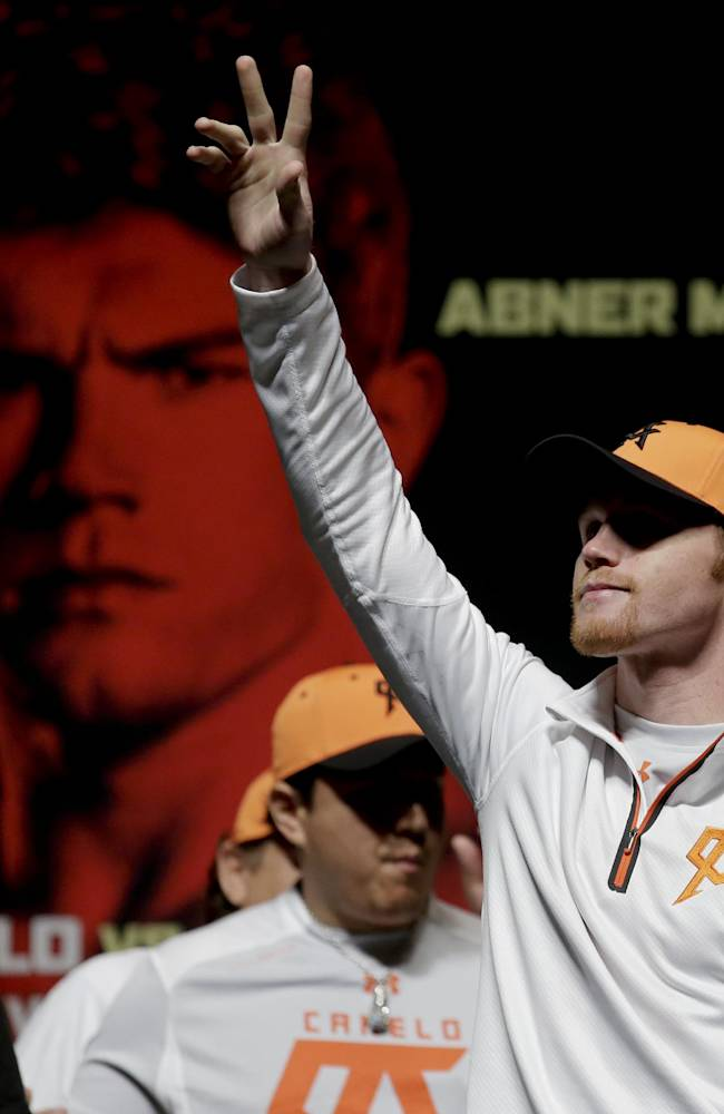 Canelo Alvarez arrives for the official weigh in for their Super Welterweight boxing match against  Erislandy Lara Friday, July 11, 2014 in Las Vegas. The pair will face off in the ring tomorrow at the MGM Grand arena