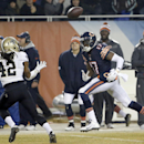 New Orleans Saints free safety Pierre Warren (42) intercepts a pass intended for Chicago Bears wide receiver Alshon Jeffery (17) during the second half of an NFL football game Monday, Dec. 15, 2014, in Chicago The Associated Press