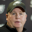 FILE - In this May 29, 2014, file photo, Philadelphia Eagles' head coach Chip Kelly speaks during a news conference before an NFL football organized team activity in Philadelphia. Kelly broke his offseason silence Wednesday, March 11, 2015, after a turbulent week in which the Philadelphia Eagles traded two-time All-Pro running back LeSean McCoy and quarterback Nick Foles, while letting Pro Bowl wide receiver Jeremy Maclin leave in free agency. (AP Photo/Matt Rourke, File)