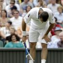 Radek Stepanek of the Czech Republic reacts during a third round men's singles match against Novak Djokovic  of Serbia at the All England Lawn Tennis Championships at Wimbledon, England, Friday, June  29, 2012. (AP Photo/Alastair Grant)