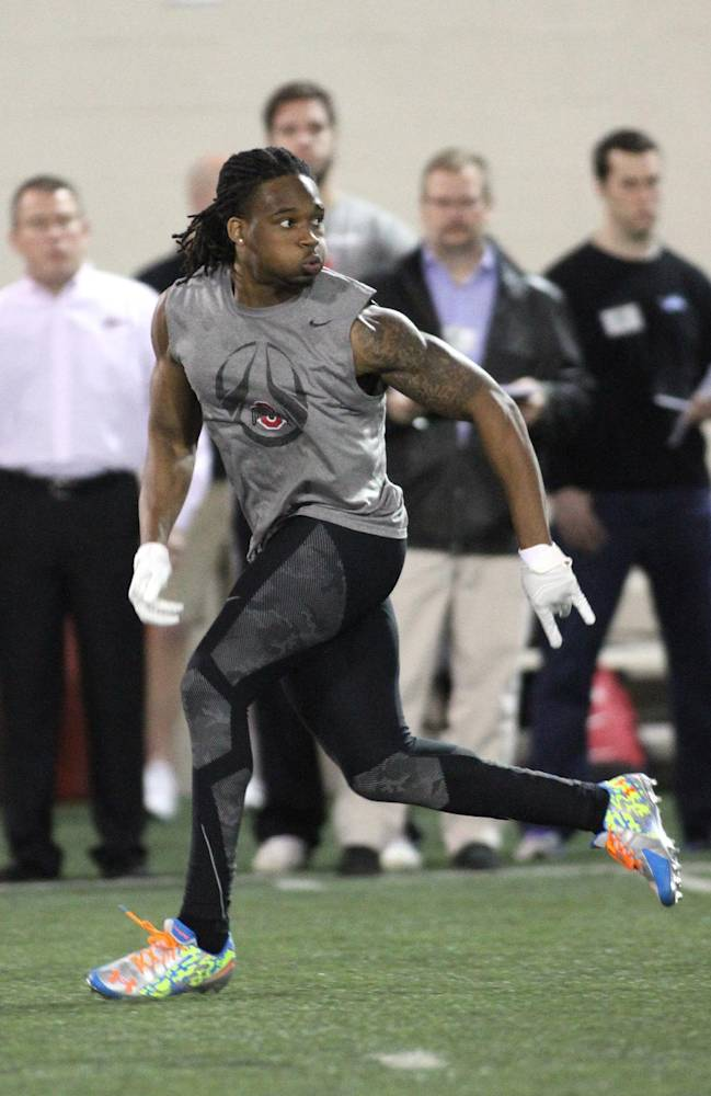 Bradley Roby participates in Ohio State pro day at Ohio State University on Friday, March 7, 2014, in Columbus, Ohio. Seventeen Ohio State players and three from other schools worked out in front of a large group of NFL football scouts and coaches