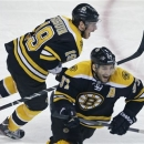 Boston Bruins center Patrice Bergeron (37) and teammate Nathan Horton, rear, celebrate after beating the Toronto Maple Leafs