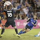 San Jose Earthquakes forward Chris Wondolowski's shot is blocked by Real Salt Lake goalkeeper Nick Rimando (18) during the second half of an MLS soccer match Saturday, Aug. 30, 2014, in Santa Clara, Calif. The game ended in a 1-1 tie The Associated Press