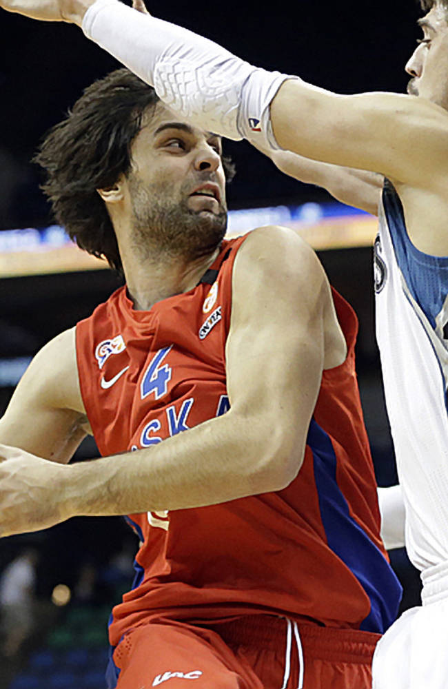 CSKA Moscow's Milos Teodosic, left, looks to pass as he is pressured by Minnesota Timberwolves' Alexey Shved, of Russia, in the second half of a preseason NBA basketball game, Monday, Oct. 7, 2013, in Minneapolis