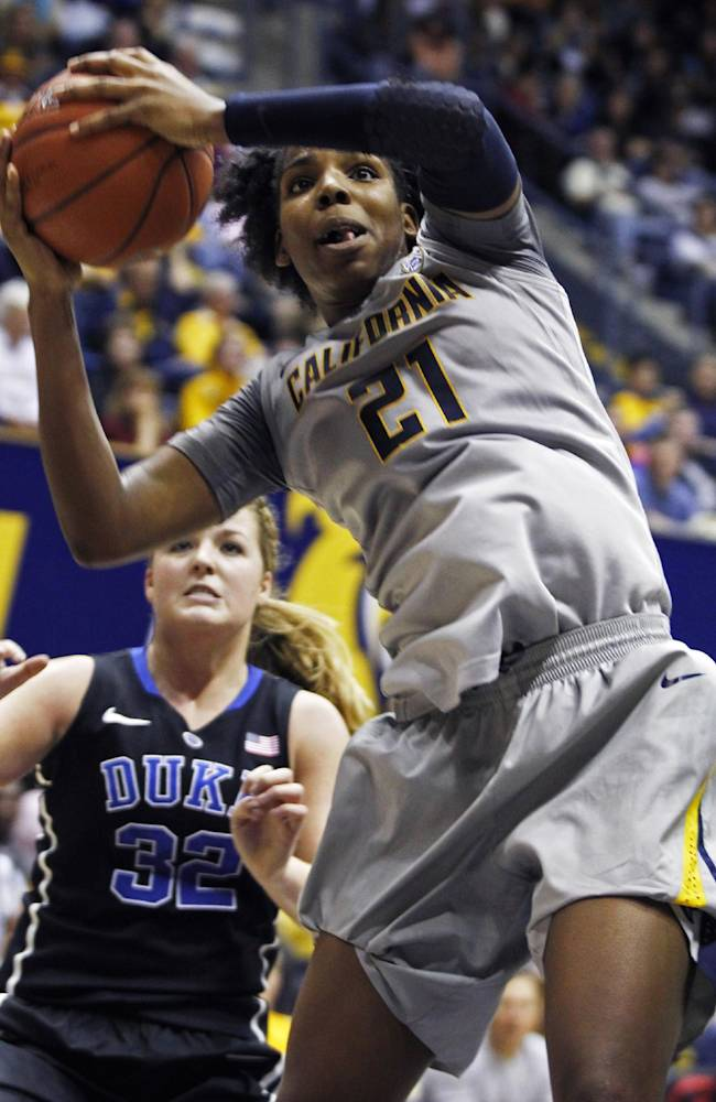 California's Reshanda Gray (21) rebounds in front of Duke's Tricia Liston during the second half of an NCAA college basketball game, Sunday, Nov. 10, 2013 in Berkeley, Calif