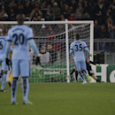 Manchester City's Pablo Zabaleta, right, scores during a Champions League, Group E soccer match between Roma and Manchester City at Rome's Olympic Stadium, Wednesday, Dec. 10, 2014