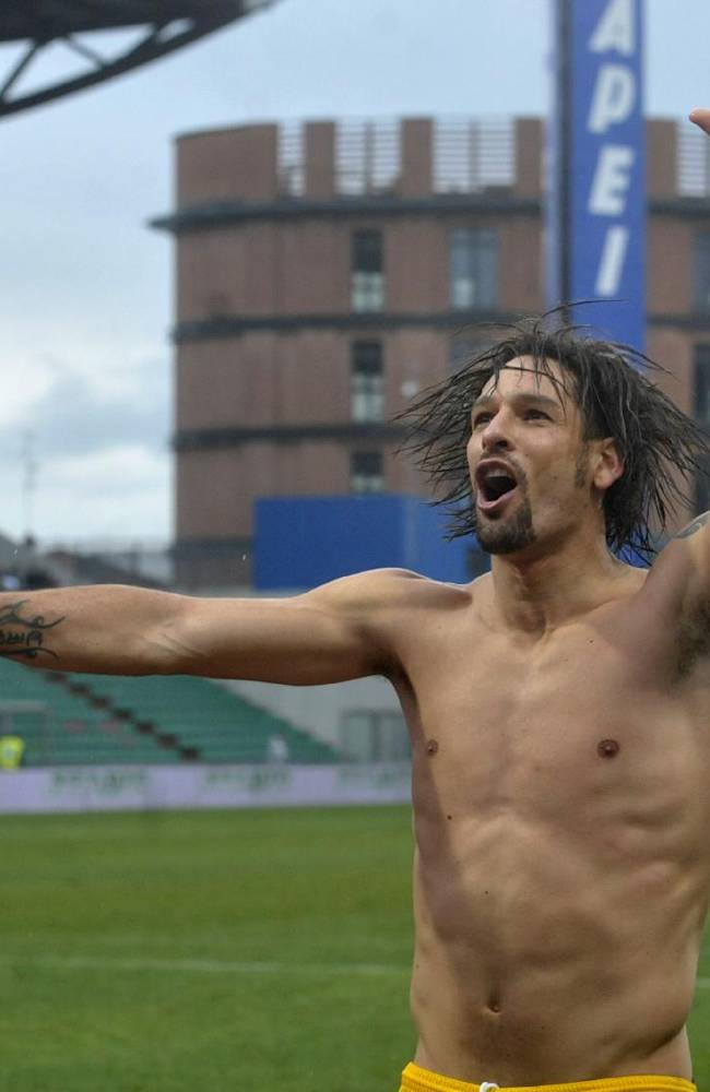 Parma's Carvalho Amauri celebrates at the end of a serie A soccer match between Sassuolo and Parma at Reggio Emilia's Mapei stadium, Italy, Sunday, March 2, 2014. Parma won 1-0