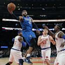 Dallas Mavericks' Vince Carter (25) goes to the basket against the New York Knicks during the first half of an NBA basketball game, Monday, Feb. 24, 2014, in New York. Dallas won 110-108 The Associated Press