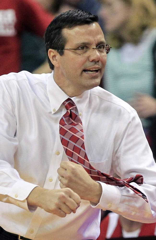 FILE In this Feb. 16, 2013 file photo, Nebraska coach Tim Miles gestures to his players in an NCAA college basketball game against Michigan State, in Lincoln, Neb. Nebraska will have one of the best venues in the nation with the opening of the $179 million Pinnacle Bank Arena, but whether the product on the floor is better in coach Tim Miles' second season is a mystery