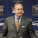 Auburn Athletic Director Jay Jacobs talks with reporters at Auburn University in Auburn, Ala., Sunday, Nov. 25, 2012. Jacobs announced the firing of football coach Gene Chizik following a 3-8 season. (AP Photo/Dave Martin)
