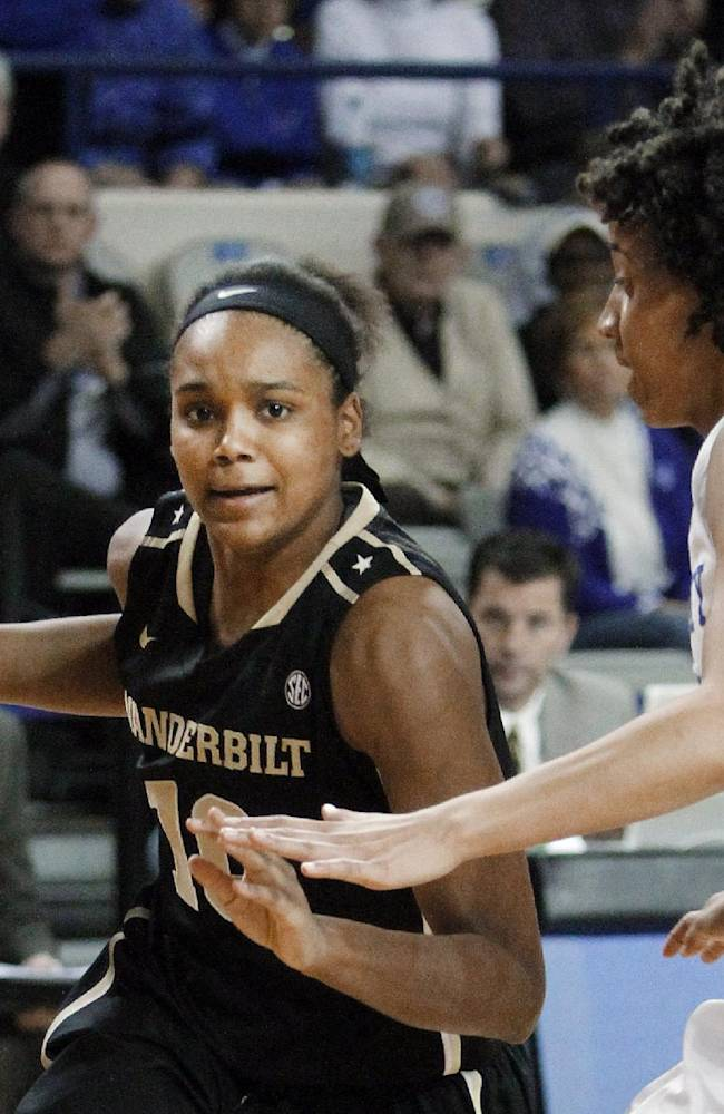 Vanderbilt's Christina Foggie, left, drives to the basket as Kentucky's Kastine Evans defends during the second half of an NCAA college basketball game, Sunday, March 2, 2014, in Lexington, Ky. Kentucky won 65-63