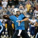 Tennessee Titans quarterback Zach Mettenberger throws a pass during their 19-3 loss to the Minnesota Vikings at LP Field on Thursday, Aug. 28, 2014 The Associated Press