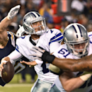 Dallas Cowboys quarterback Caleb Hanie is about to be hit by San Diego Chargers outside linebacker Thomas Keiser during the second half of a preseason NFL football game Thursday, Aug. 7, 2014, in San Diego. Hanie fumbled and the Chargers recovered in thei