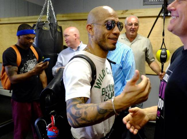 Boxer Miguel Cotto arrives for a work out at Everlast Lab ahead of his match against Sergio Martinez, Tuesday, June 3, 2014, in Hoboken, N.J. The two will fight on June 7 at Madison Square Garden in New York