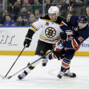 Boston Bruins' Milan Lucic, left, and New York Rangers' Rick Nash battle for position during the first period of an NHL hockey game Sunday, March 2, 2014, in New York The Associated Press