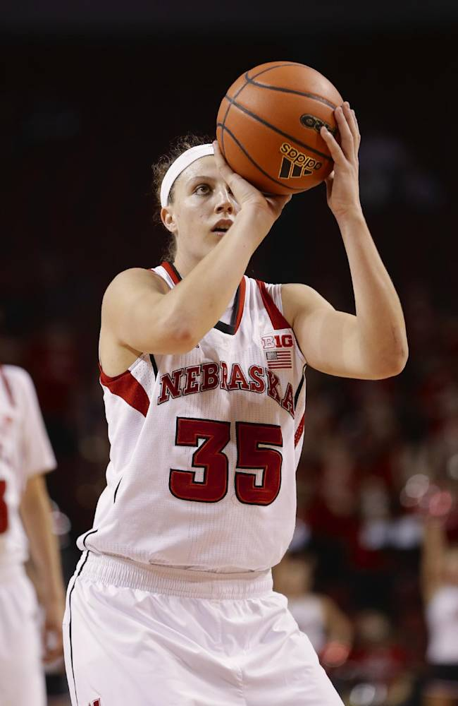 In this Nov. 27, 2013 file photo, Nebraska's Jordan Hooper shoots in an NCAA college basketball game against UMass-Lowell in Lincoln, Neb. Hooper is on the verge scoring her 2,000th career point for 18th-ranked Nebraska. If she scores 10 points against Minnesota on Thursday, Jan. 16, 2014, she'll become the fourth player in program history to achieve the milestone