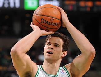 BOSTON, MA - MARCH 30: Kris Humphries #43 of the Boston Celtics shoots a free throw against the Chicago Bulls on March 30, 2014 at the TD Garden in Boston, Massachusetts. (Photo by Steve Babineau/NBAE via Getty Images)