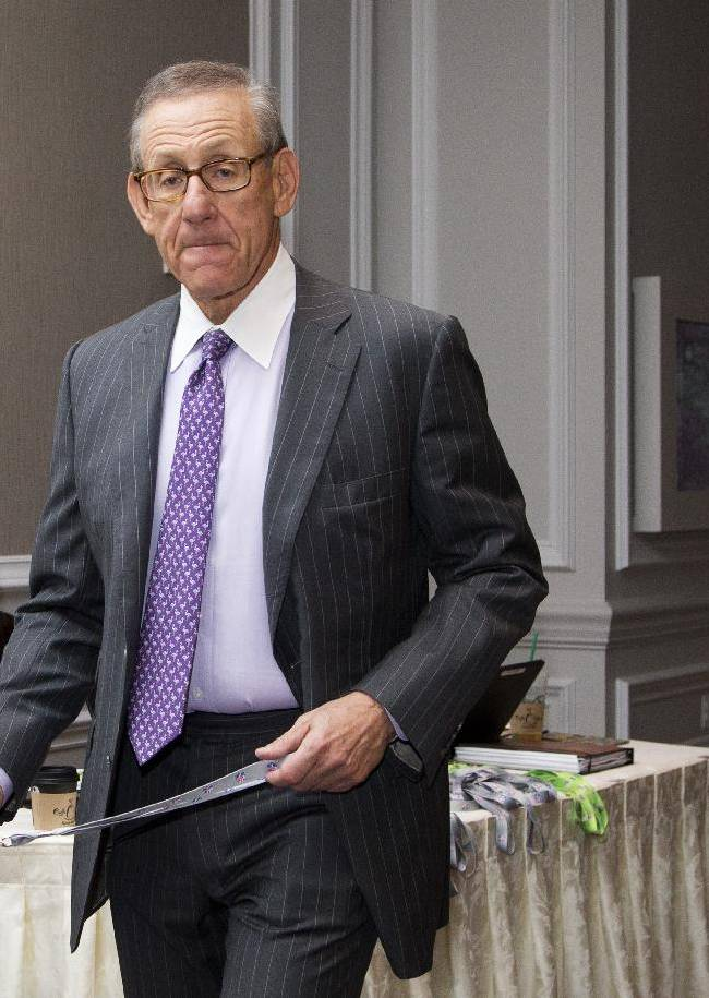 Miami Dolphins football team owner Stephen Ross, arrives for the NFL fall meeting in Washington, Tuesday, Oct. 8, 2013