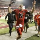 Nebraska quarterback Taylor Martinez celebrates following an NCAA college football game against Wisconsin, in Lincoln, Neb., Saturday, Sept. 29, 2012. Martinez guided four straight scoring drives against a tiring Wisconsin defense in the second half to lead No. 22 Nebraska's comeback from a 17-point deficit to defeat the Badgers 30-27. (AP Photo/Nati Harnik)