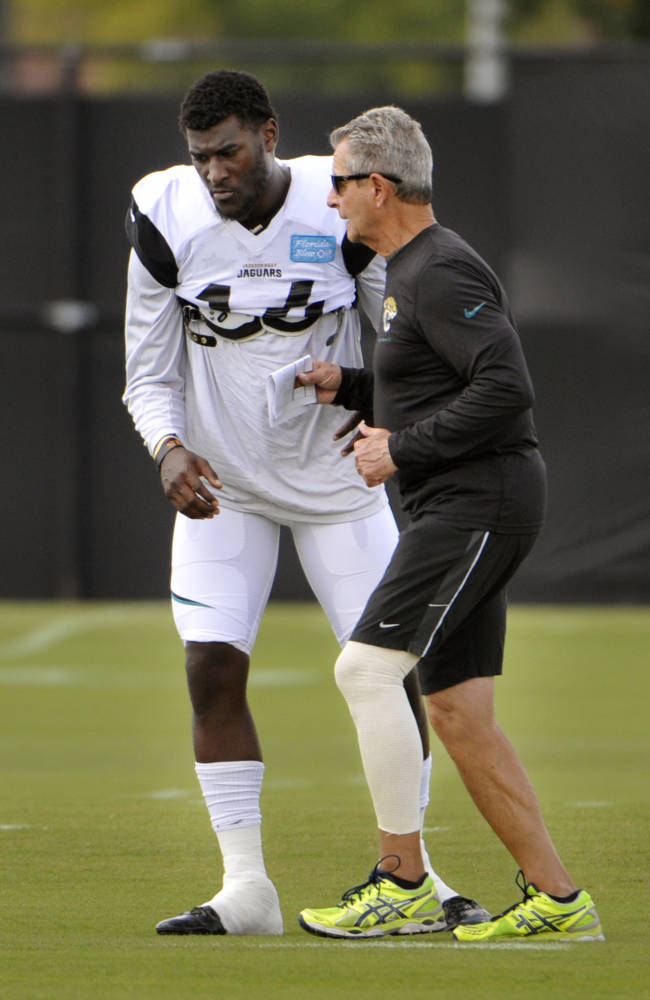 Jacksonville Jaguars wide receiver coach Jerry Sullivan, right, works with Justin Blackmon during NFL football practice, Wednesday, Oct. 2, 2013, in Jacksonville, Fla. Blackmon returned to the team Wednesday, after a four-game suspension for violating the league's substance-abuse policy