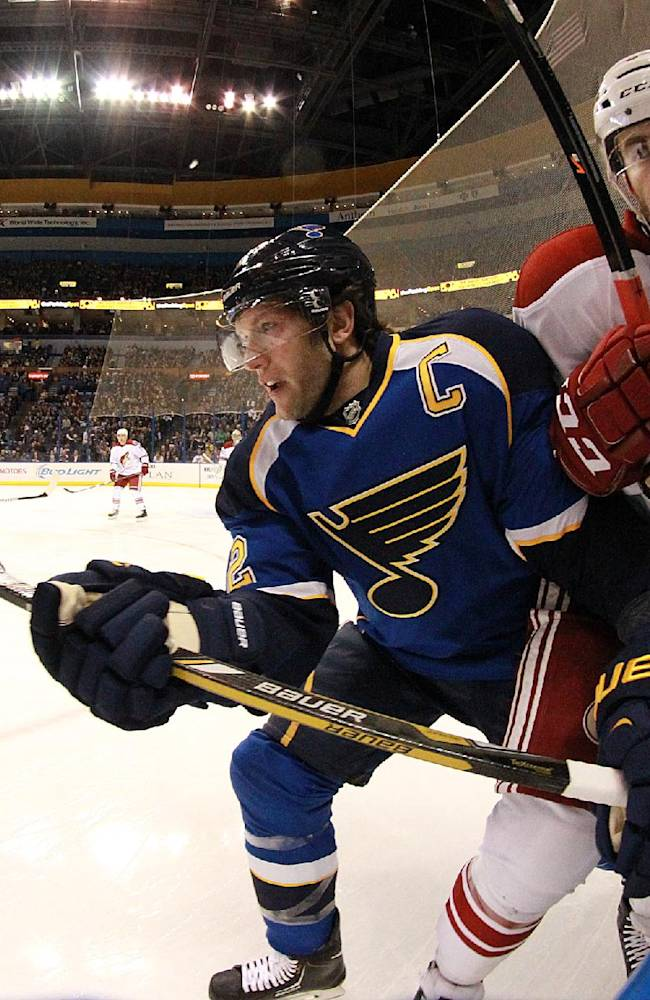 St. Louis Blues center David Backes, left, checks Phoenix Coyotes defenseman Keith Yandle during the first period of an NHL hockey game Tuesday, Jan. 14, 2014, in St. Louis. The Blues won 2-1