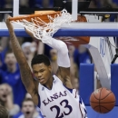 Kansas guard Ben McLemore dunks during the second half of an NCAA college basketball game against Baylor in Lawrence, Kan., Monday, Jan. 14, 2013. Kansas defeated Baylor 61-44. (AP Photo/Orlin Wagner)