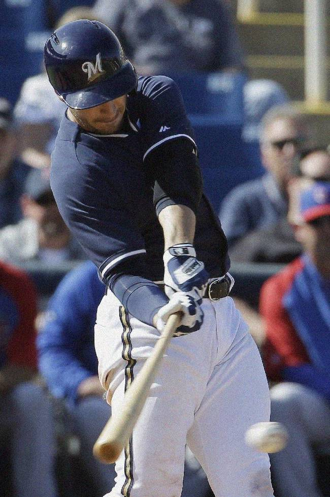 Braun has 2 more hits in Brewers' 4-2 loss to Cubs
