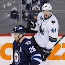 San Jose Sharks' Marc-Edouard Vlasic (44) celebrates after scoring the game winning goal against the Winnipeg Jets' in the dying seconds of the third period of an NHL hockey game Monday, Jan. 5, 2015, in Winnipeg, Manitoba The Associated Press