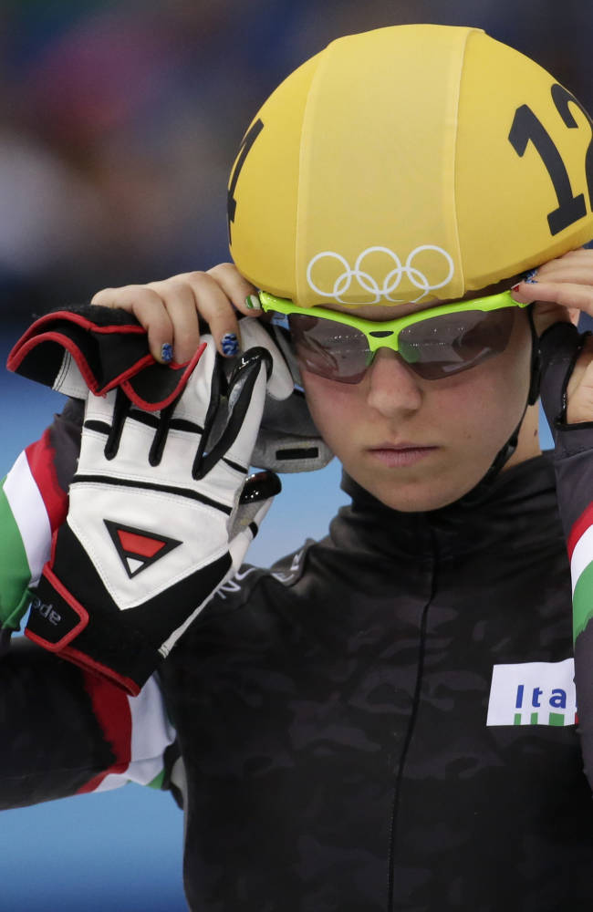 Arianna Fontana of Italy prepares to compete in a women's 1500m short track speedskating final at the Iceberg Skating Palace during the 2014 Winter Olympics, Saturday, Feb. 15, 2014, in Sochi, Russia