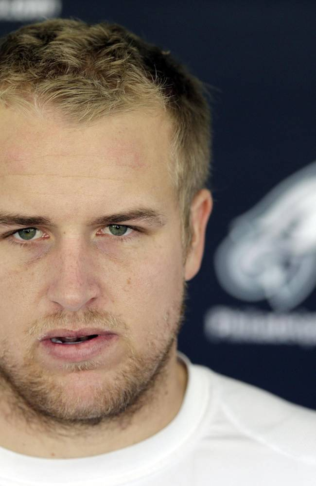 Philadelphia Eagles quarterback Matt Barkley speaks at a news conference after practice at the NFL football team's training facility, Tuesday, Oct. 29, 2013, in Philadelphia