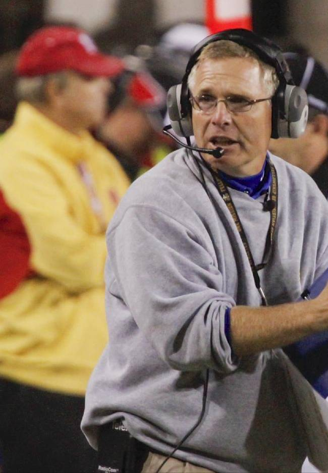 This file photo from Sept. 25, 2010 shows South Dakota State head coach John Stiegelmeier on the sidelines at Memorial Stadium in Lincoln Neb., in the second half of an NCAA college football game against Nebraska. The timing couldn't be better for South Dakota State when they visit Lincoln on Saturday. The Cornhuskers are coming off a 20-point loss to UCLA, Nebraska quarterback Taylor Martinez has worn a walking boot on his left foot this week and might not play, and off the field, coach Bo Pelini snapped back this week at Huskers great Tommie Frazier, who tweeted that Pelini should fire his defensive assistants