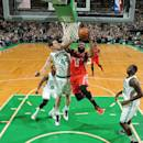 BOSTON, MA - JANUARY 30: James Harden #13 of the Houston Rockets goes up for a shot against the Boston Celtics on January 30, 2015 at the TD Garden in Boston, Massachusetts. (Photo by Brian Babineau/NBAE via Getty Images)