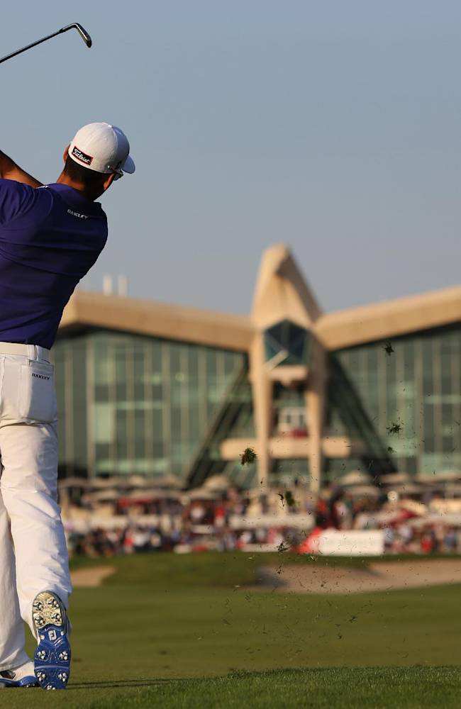 Rafa Cabrera-Bello of Spain plays a ball on the 9th hole during the 2nd round of the Abu Dhabi HSBC Golf Championship in Abu Dhabi, United Arab Emirates, Friday, Jan. 17, 2014