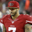San Francisco 49ers quarterback Colin Kaepernick (7) stands on the sideline during the fourth quarter of an NFL football game against the Seattle Seahawks in Santa Clara, Calif., Thursday, Nov. 27, 2014. The Seahawks 19-3 The Associated Press
