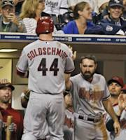 Arizona Diamondbacks' Paul Goldschmidt returns to the dugout after hitting a solo homer against the San Diego Padres in the sixth inning of a baseball game Tuesday, Sept. 24, 2013, in San Diego. (AP Photo/Lenny Ignelzi )