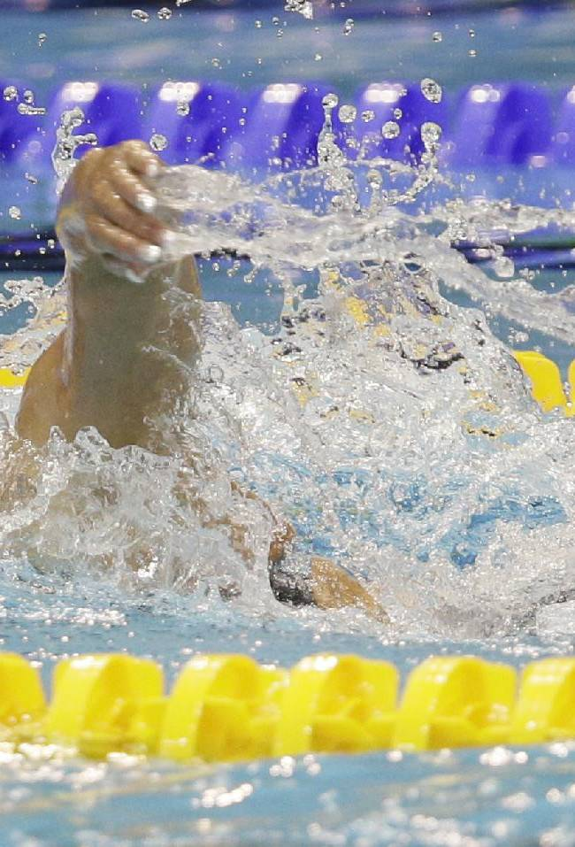 Spain's Mireia Belmonte Garcia competes in a women's 800m freestyle first round heat at the LEN Swimming European Championships in Berlin, Germany, Wednesday, Aug. 20, 2014