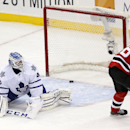 New Jersey Devils left wing Patrik Elias, right, of the Czech Republic, scores a shootout goal on Toronto Maple Leafs goalie Jonathan Bernier in the Devils' 2-1 victory in an NHL hockey game, Wednesday, Jan. 28, 2015, in Newark, N.J The Associated Press