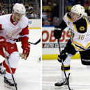 At left, in a Sept. 16, 2013 file photo, Detroit Red Wings' Brendan Smith (2) plays in an NHL preseason hockey game against the Pittsburgh Penguins, in Pittsburgh. At right, in a Feb. 6, 2014 file photo, Boston Bruins' Reilly Smith shoots during the first