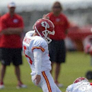 Kansas City Chiefs kicker Cairo Santos (5) kicks the ball through the upright during a NFL training camp, Wednesday, July 30, 2014 on the Missouri Western State University campus in St. Joseph. Mo The Associated Press