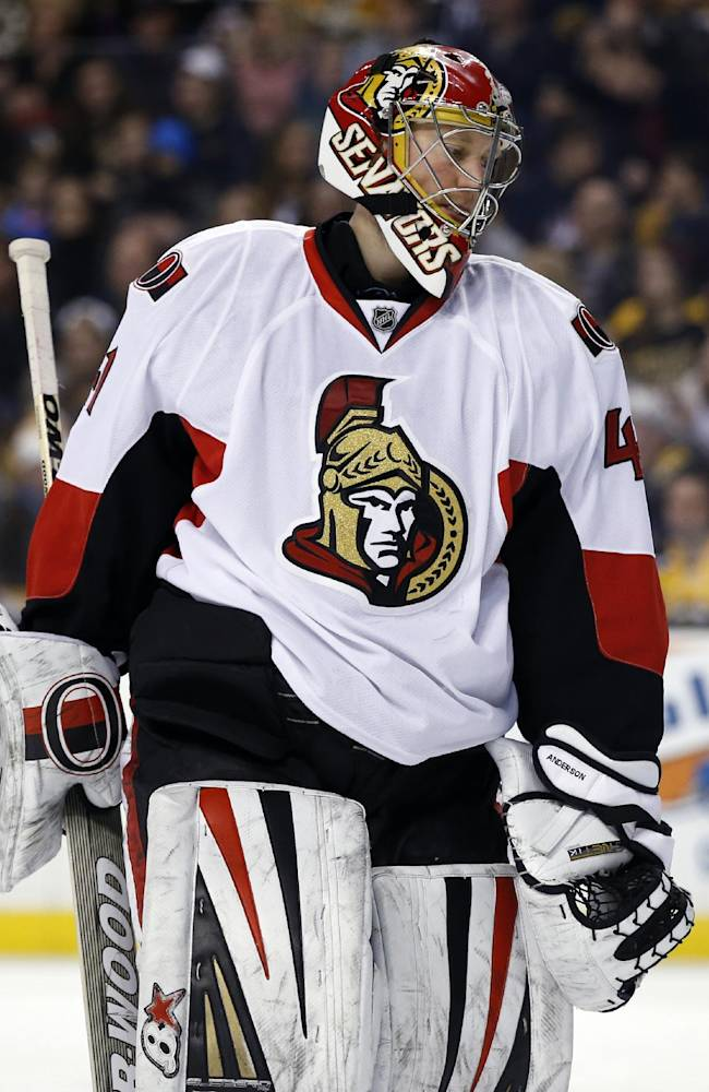 Ottawa Senators goalie Craig Anderson (41) skates around the crease after a goal was scored against him by the Boston Bruins in the second period of an NHL hockey game in Boston, Saturday, Feb. 8, 2014. The Bruins won 7-2