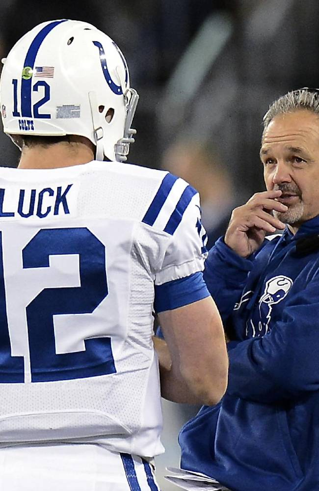 Indianapolis Colts coach Chuck Pagano talks with quarterback Andrew Luck (12) in the second quarter of the Colts' NFL football game against the Tennessee Titans on Thursday, Nov. 14, 2013, in Nashville, Tenn