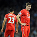 Liverpool's Steven Gerrard during the English Premier League soccer match between Manchester City and Liverpool at the Etihad Stadium, in Manchester, England, Monday, Aug. 25, 2014