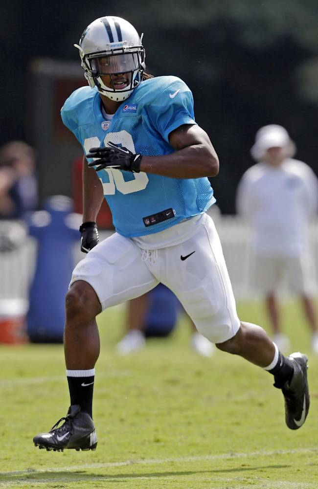 In this July 30, 2013, file photo, Carolina Panthers' Robert Lester (38) chases the ball during NFL football training camp in Spartanburg, S.C. An undrafted rookie just three games into his NFL career, the Panthers will ask him to start Sunday against Eli Manning and the New York Giants