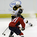 Boston Bruins' David Krejci (46), of the Czech Republic, moves the puck against Washington Capitals' Brooks Laich (21) during the first period of a preseason hockey game, Friday, Sept. 26, 2014, in Washington. The Capitals won 5-4 in overtime. The Associa