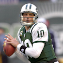 FILE- In this Oct. 28, 2007 file photo, New York Jets quarterback Chad Pennington looks to pass during a football game against the Buffalo Bills in East Rutherford, N.J. The 2000 first-round draft pick was considered a possible franchise-type quarterback